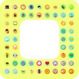 Photo frame with icons symbols. Illustration royalty free illustration