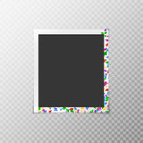 Photo frame with iridescent confetti Stock Image