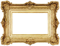 Photo frame isolated. Empty golden frame isolated. Clipping path included stock images