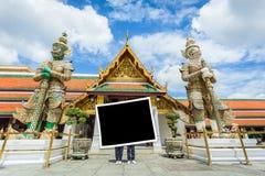 photo frame with landmark of Bangkok Wat-pha-kaw Stock Photos