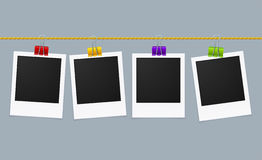 Photo Frame Line. Vector. Photo Frame Line on Clips. Vector illustration Stock Photo