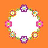 Photo Frame Made of Abstract Flower Blossoms, Vector. Illustration of springtime flowers in cartoon style, blooming elements isolated on orange backdrop stock illustration