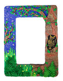 Photo frame made from polymer clay handmade crafted tree forest. Photo frame made from polymer clay handmade crafted tree in the forest owl Royalty Free Stock Photo