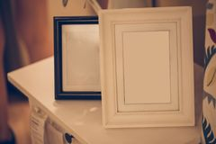 Photo frame of memory vintage color tone. Home decoration with photo frame of memory vintage color tone stock photography