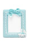 Photo frame for new born male. Fabric photo frame for new born male Stock Photos