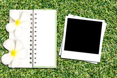 Photo frame and notebook Royalty Free Stock Photos