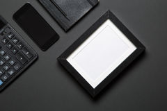 Photo frame and office supplies stock images