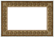Photo frame - old wood. Wooden picture art frame isolated on white Royalty Free Stock Photography