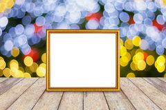 Photo frame over christmas background Stock Images