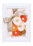 Photo frame with paper flower Royalty Free Stock Photos