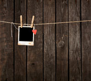 Photo Frame with Paper Heart Hang on Rope Stock Image