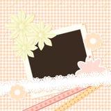 Photo frame on plaid background Royalty Free Stock Image
