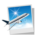 Photo frame with plane isolated on white backgroun Stock Images