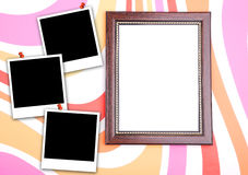 Photo frame with polaroid Royalty Free Stock Images