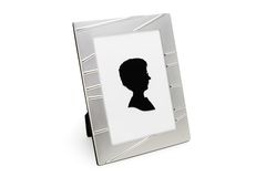 Photo Frame with Portrait (isolated on white). Shot of the modern photo frame with portrait on a white background with pretty shadow Stock Image