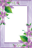 Photo frame with purple flowers Stock Photography