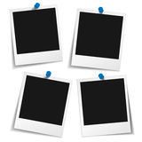 Photo Frame With Push Pin. Blank polaroid photo frames with push pin and different shadow effect and empty space for your photograph and picture. Illustration Royalty Free Stock Images