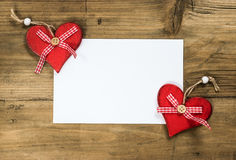 Photo frame with red hearts Stock Photography