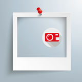 Photo Frame Red Thumbtack. Photo frame with camera symbol and red thumbtack on the gray background stock illustration