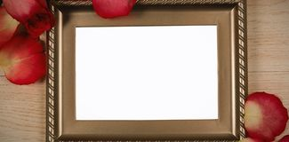 Photo frame and rose flower. Empty photo frame and rose flower stock photos
