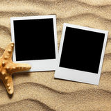 Photo frame on sand background Royalty Free Stock Photography