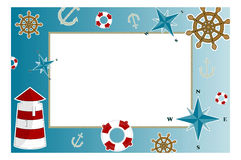 Photo frame sea. Frame for photo with marine issues Stock Photos