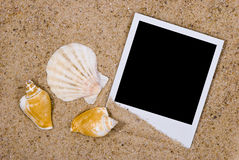 Photo frame with sea shells on sand background Royalty Free Stock Photo