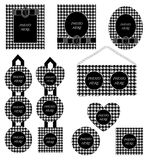 Photo frame Set Black White houndstooth Pattern. Photo frames Set of Chidori monogram pattern. The  is isolated on background Stock Photography
