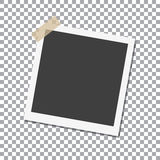 Photo Frame with shadow on Adhesive Sticky Tape Scotch, on isolate background,  template for your stylish photos or images Royalty Free Stock Photos