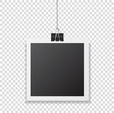 Photo frame with shadow hanging with paper clip. Black square sn vector illustration
