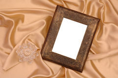 Photo Frame on Silk. A Classic Composition of Photo Frame on Silk Background Stock Photography