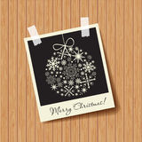 Photo frame with snowflakes ball Stock Photos