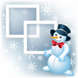 Photo frame with snowman Stock Image