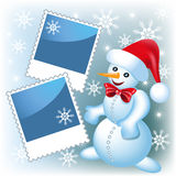 Photo frame with snowman Stock Photo