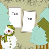 Photo frame with snowman Stock Images