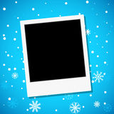 Photo frame on a snowy background Stock Photo