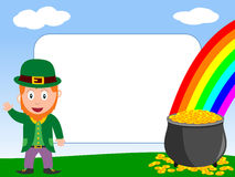 Photo Frame - St. Patrick [2]. Photo frame, post card or page for your scrapbook. Subject: St. Patricks or Saint Patrick s Day (a leprechaun and the pot of gold Stock Photography