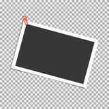 Photo frame with staple on transparent background. Vector template, blank for trendy and stylish photo or image. Vector illustration Stock Images