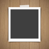 Photo frame stick on vintage wooden texture. Vector illustration Royalty Free Stock Photography