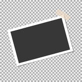 Photo frame with sticky tape on isolate background. Template for your photo or image Stock Image