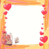 Photo frame summer. Vector illustration. For your design. Mosaic elements and butterflies with hearts. Square sheet orientation Stock Images
