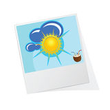 Photo frame with sun icon  Royalty Free Stock Image