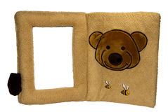 Photo frame with teddy bear and t. Soft baby family photo frame with teddy bear and the bees Stock Photography