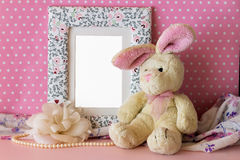 Photo frame with teddy rabbit Stock Photography