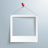 Photo Frame Thumbtack PiAd. White photo frame on the gray background royalty free illustration