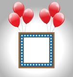 Photo frame in US national colors with balloons Stock Photos
