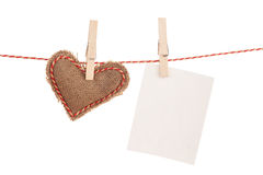 Photo frame and valentines day toy heart Royalty Free Stock Images