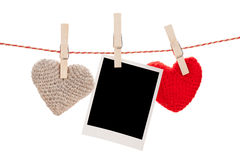 Photo frame and valentines day toy hearts Royalty Free Stock Photo