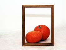 Photo frame and vegetables, fresh pumpkin Royalty Free Stock Images