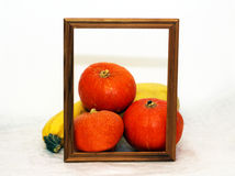 Photo frame and vegetables, fresh pumpkin Royalty Free Stock Photo